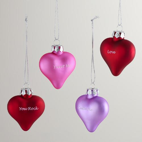 Glass Conversation Hearts Ornaments, Set of 12