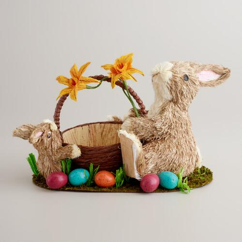 Natural Fiber Daddy and Son Bunny Basket