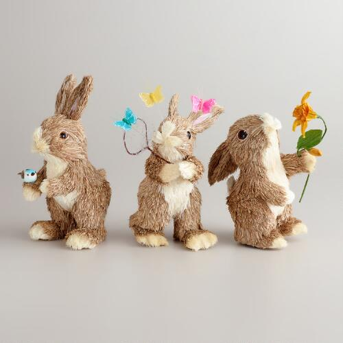 Natural Fiber Spring Bunnies, Set of 3