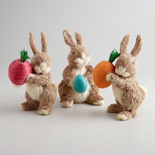 Natural Fiber Garden Bunnies, Set of 3