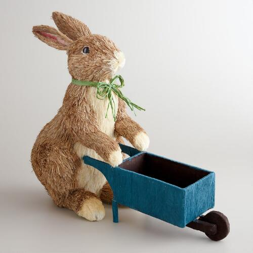 Natural Fiber Bunny Wheelbarrow Decor