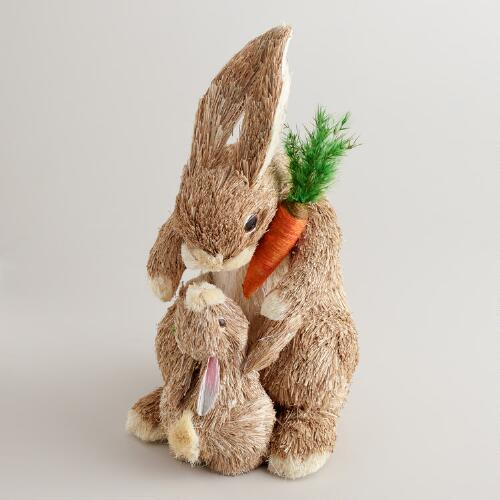 Natural Fiber Mama and Baby Bunny Decor