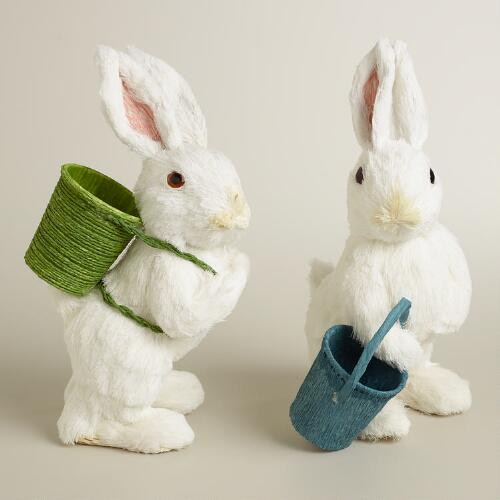 White Natural Fiber Bunnies, Set of 2