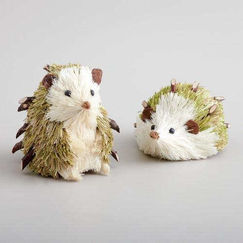 Natural Fiber Hedgehogs, Set of 2