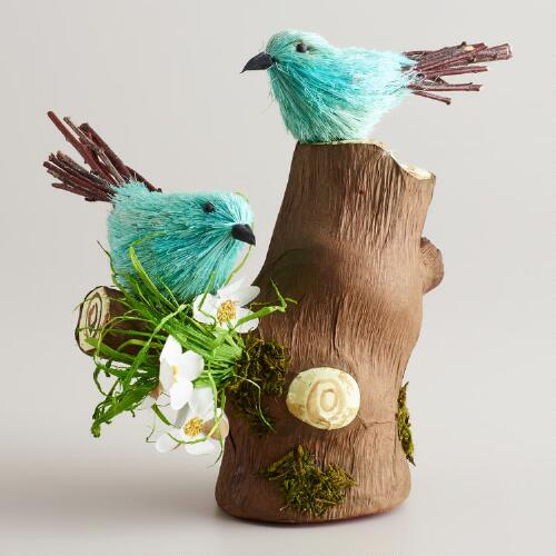 Natural Fiber Birds on Flowering Log Decor