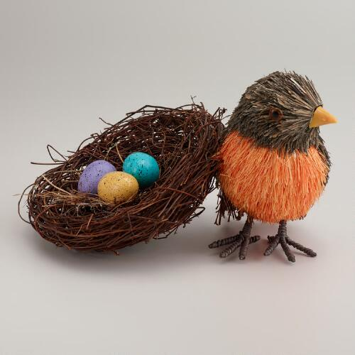 Natural Fiber Robin and Nest