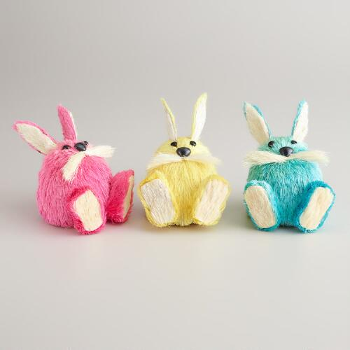 Natural Fiber Mustache Bunnies, Set of 3
