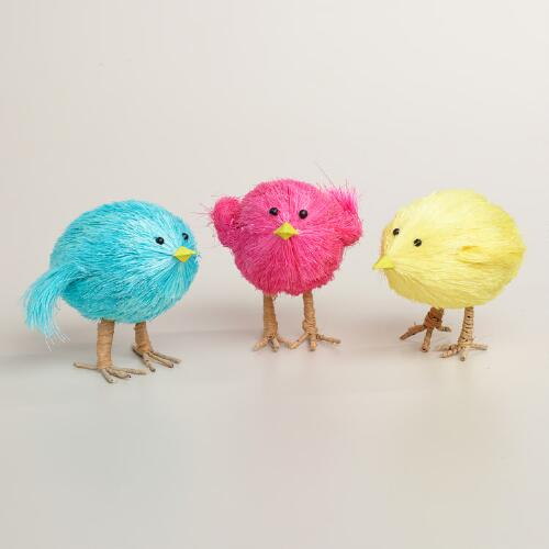 Natural Fiber Chicks, Set of 3