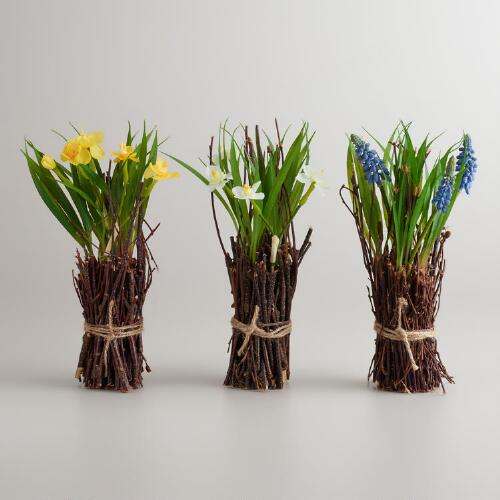 Mini Flowering Twig Bundles, Set of 3