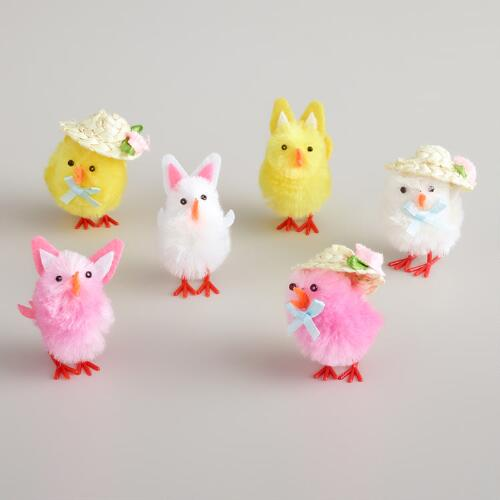Boxed Chicks with Bunny Ears and Hats, Set of 6