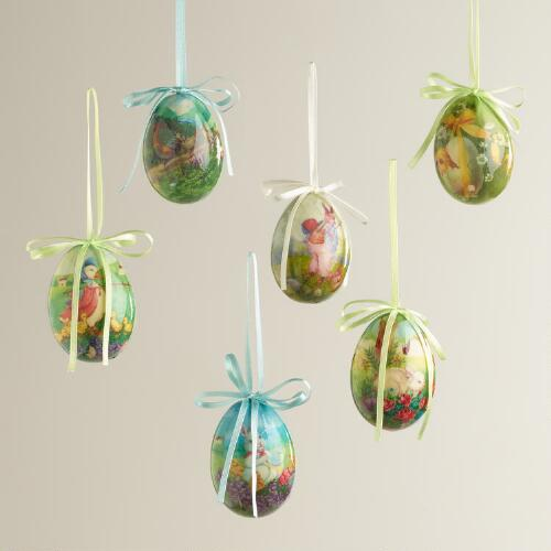 Boxed Decoupage Egg Ornaments, Set of 2
