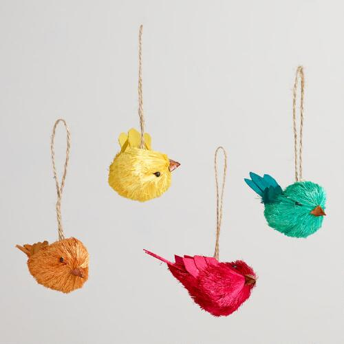 Natural Fiber Spring Birds Ornaments, Set of 4