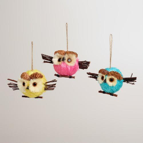 Natural Fiber Spring Owl Ornaments, Set of 3