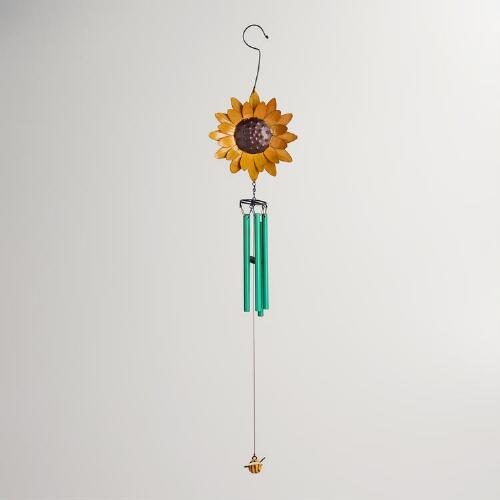 Metal Bee Sunflower Wind Chime