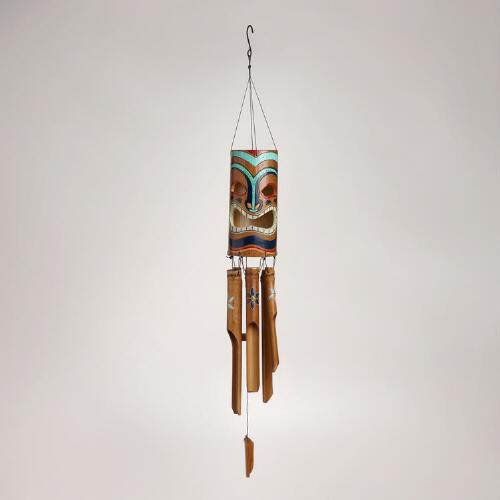 Bamboo Tiki Face Wind Chime