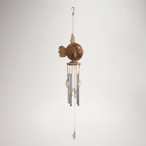 Coconut Fish and Seashells Wind Chime