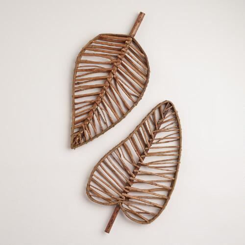 Leaf Twig Wall Decor, Set of 2