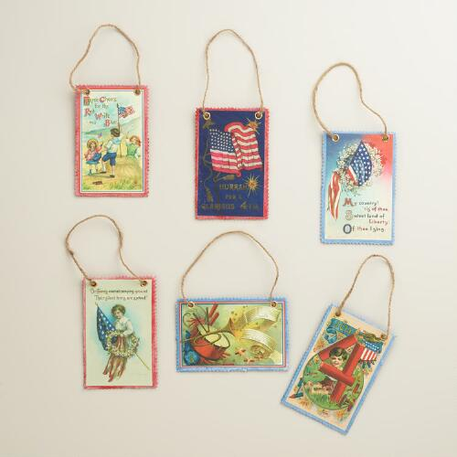 Patriotic Vintage Reproduction Postcard Ornaments, Set of 6