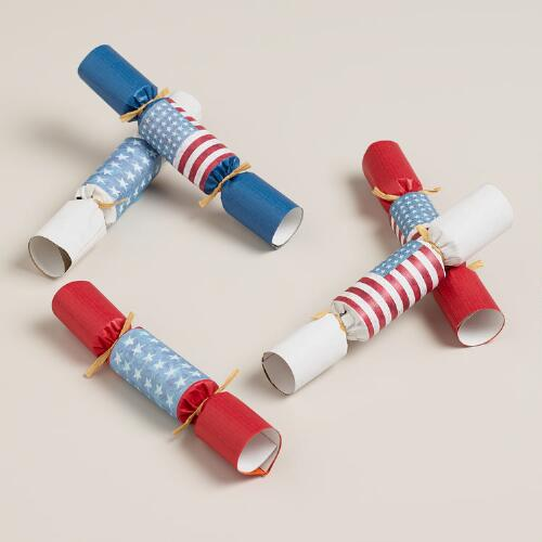 8-Piece Boxed Mini Patriotic Flag Crackers, Set of 2