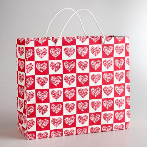 Extra Large Red and Cream Hearts Gift Bag