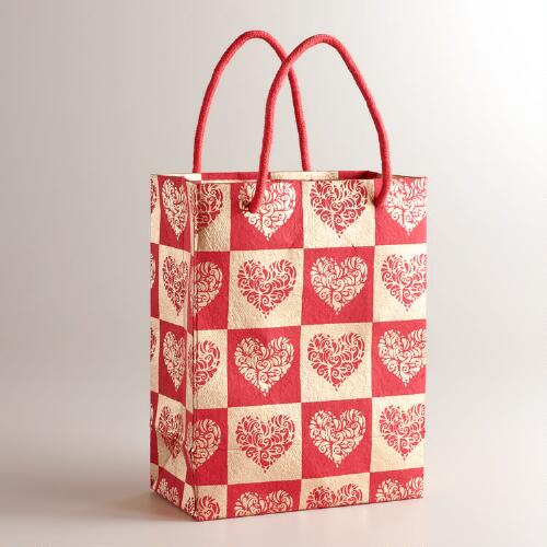 Small Red and Gold Hearts Gift Bag