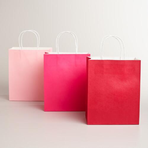 Medium Valentines Kraft Gift Bags, 6-Pack