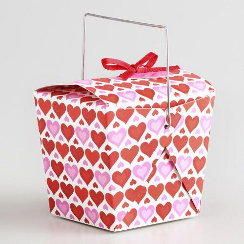 Mini Valentines Ribbon Takeout Box, Set of 12
