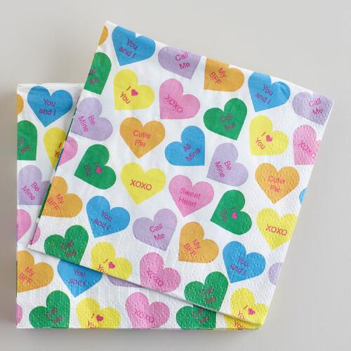 Conversation Hearts Beverage Napkins, 16-Count