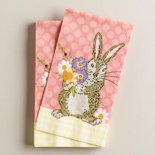Bunny with Flowers Guest Paper Towels, 16-Count