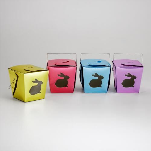 Metallic Die-Cut Bunny Takeout Boxes, Set of 4