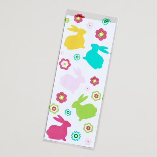 Bunnies with Flowers Cellophane Bags, 20-Count