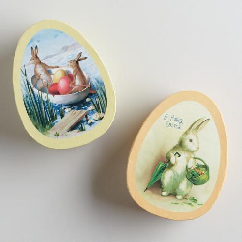 Vintage-Inspired Egg-Shaped Boxes, Set of 2