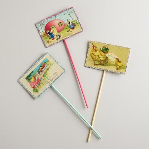 Vintage-Inspired Easter Picks, Set of 3
