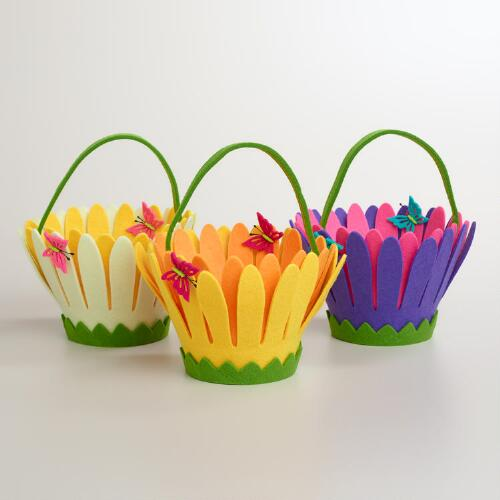Felt Daisy Flower Containers, Set of 3