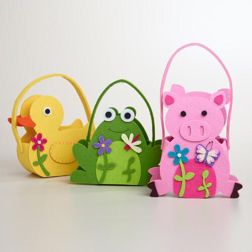 Large Felt Frog, Pig and Duck Containers, Set of 3