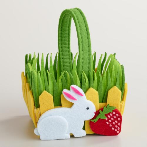 Small Felt Rabbit Picket Fence Container