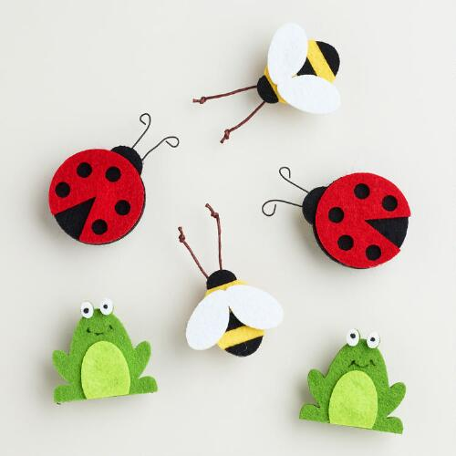 Felt Frog, Bee and Ladybug Clips, Set of 6