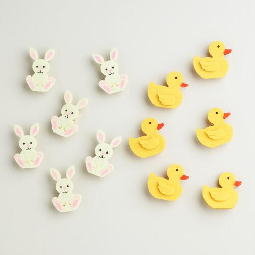 Felt Duck and Bunny Clips, Set of 12