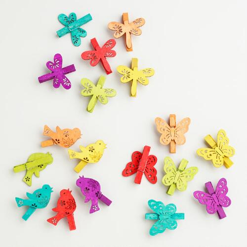 Bird, Butterfly and Dragonfly Wooden Clips, Set of 18