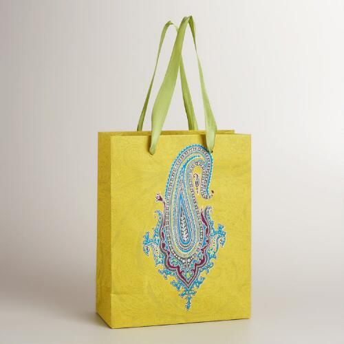 Large Green Paisley Gift Bag
