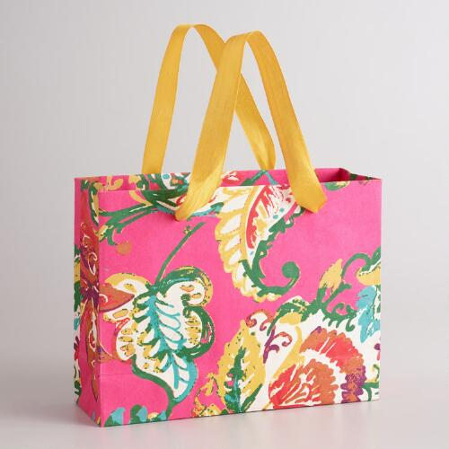 Large Rectangular Pink Paisley Gift Bag