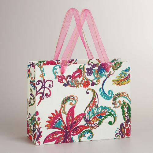 Large Rectangular Ivory Paisley Gift Bag