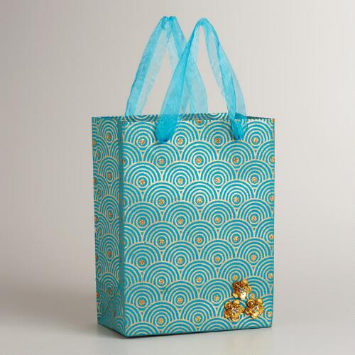 Small Turquoise Sequined Flower Gift Bag