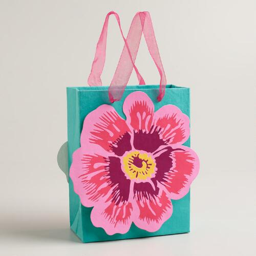 Small Green Die-Cut Flower Gift Bag