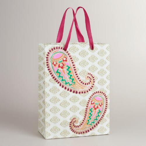 Large Ivory Paisley Gift Bag