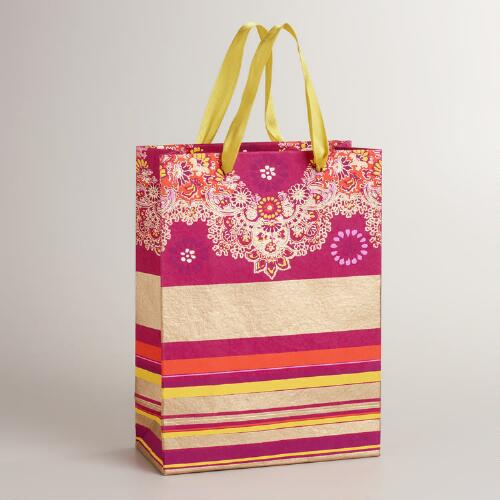 Large Caribbean Stripe Paisley Bordered Gift Bag