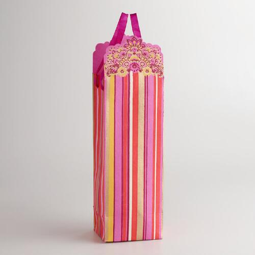 Pink Antigua Die-Cut Stripe Wine Bag
