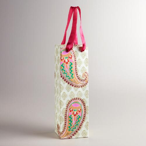 Large Ivory Paisley Wine Bag