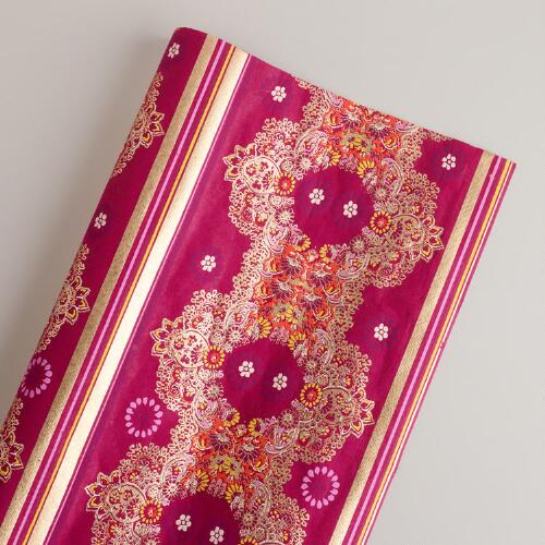 Caribbean Stripe Paisley Bordered Giftwrap Roll
