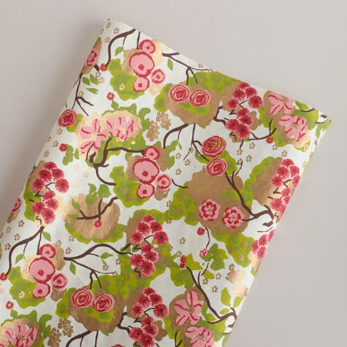 Pink and Green Spring Print Giftwrap Roll